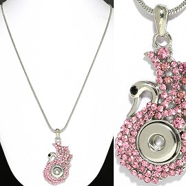 Necklace Pink Swan Rhinestone 13mm Snap on Holder ZB492