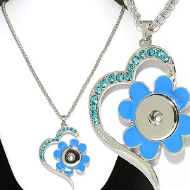 Necklace Tuquoise Blue Rhinestone 18mm Snap on Holder ZB502
