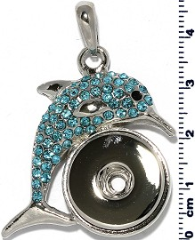 18mm Dolphin Turquoise Blue Rhinestone Snap On Pendant ZB527