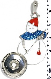 Christmas Snowman 18mm Snap On Holder Pendant White ZB549
