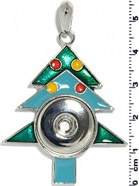 Christmas Tree 18mm Snap On Holder Pendant Green Turquoise ZB551