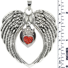 Angel Wings Heart Snap On Pendant Metallic Red ZB700