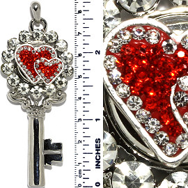 Key Heart Love Rhinestones Snap On Pendant Metallic Red ZB703