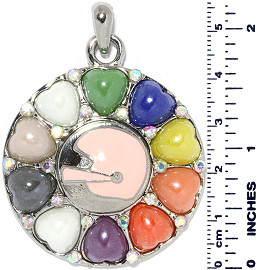 Circle Heart Football Helmet Snap On Pendant Multi Color ZB714