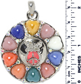 Circle Heart Peace Baby Angel Snap On Pendant Multi Color ZB715