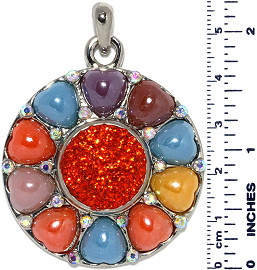 Circle Heart Peace Snap On Pendant Multi Color Red Rhinest ZB716