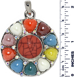 Circle Hearts Line Vaines Snap On Pendant Multi Color ZB717