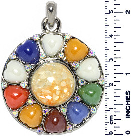 Circle Heart Stones Bead Snap On Pendant Multi Color ZB718
