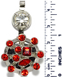 Circle Rhinestones Branches Snap On Pendant Metallic Red ZB719