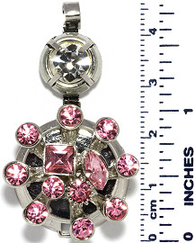 Circle Rhinestones Branches Snap On Pendant Metallic Pink ZB720