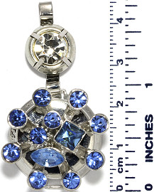 Circle Rhinestones Branches Snap On Pendant Metallic Blue ZB721
