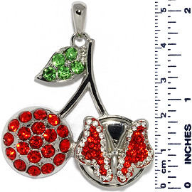 Cherry Rhinestones Butterfly Snap On Pendant Metallic Red ZB726