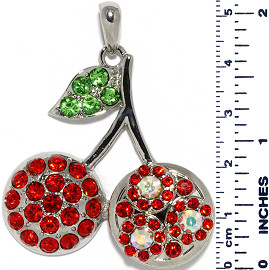 Cherry Rhinestones Circles Snap On Pendant Metallic Red Gr ZB727