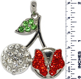 Cherry Rhinestones Butterfly Snap On Pendant Metallic RedC ZB728