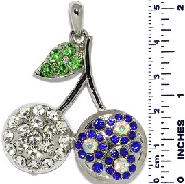 Cherry Rhinestones Circles Snap On Pendant Metallic Blue ZB729