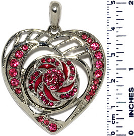 Heart Flower Rhinestones Snap On Pendant Metallic Magenta ZB734