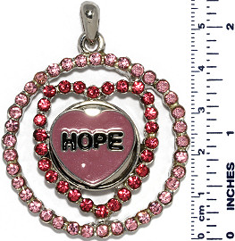 Heart Circle Rhinestones Snap On Pendant Metallic Pink ZB736