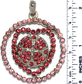 Heart Circle Flower Rhinestones Snap On Pendant Pink Magen ZB737