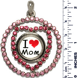 Heart Circle I Love Mom Rhinestones Snap On Pendant Pink ZB738