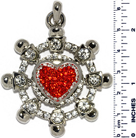 Ship Wheel Heart A Rhinestones Snap On Pendant Red ZB739