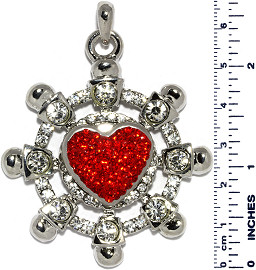 Ship Wheel Heart B Rhinestones Snap On Pendant Red ZB740