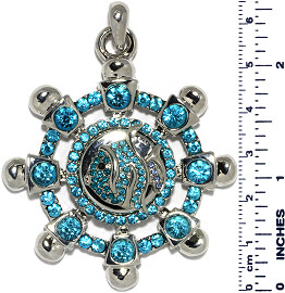 Ship Wheel Fish Rhinestones Snap On Pendant Turquoise ZB744