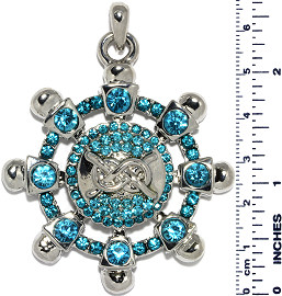 Ship Wheel Knot Rhinestones Snap On Pendant Turquoise ZB745