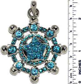 Ship Wheel Star Rhinestones Snap On Pendant Turquoise ZB746