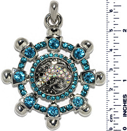 Ship Wheel Gator Rhinestones Snap On Pendant Turquoise ZB747