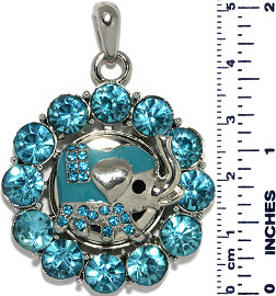 Circle Elephant Rhinestones Snap On Pendant Turquoise ZB749