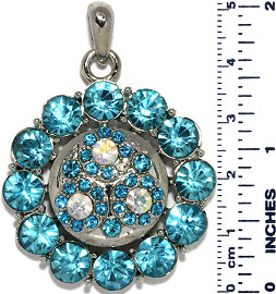Circle Round Flowers Rhinestones Snap On Pendant Turquoise ZB751