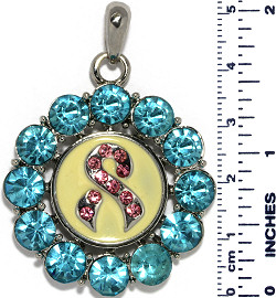 Circle Ribbon Rhinestones Snap On Pendant Turquoise Pink ZB752