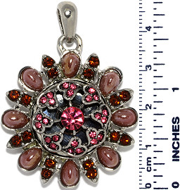 Round Flower Tear Drops Snap On Pendant Purple Magenta ZB753