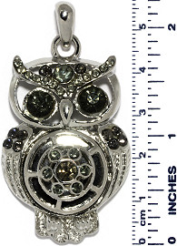 Owl Bird Rhinestones Snap On Pendant Metallic Gray ZB756