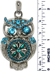 Owl Bird Rhinestones Snap On Pendant Metallic Turquoise ZB757