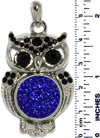 Owl Bird Rhinestones Snap On Pendant Metallic Blue Black ZB758