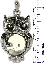 Owl Bird Football Helmet Rhi Snap On Pendant Metallic Gray ZB759