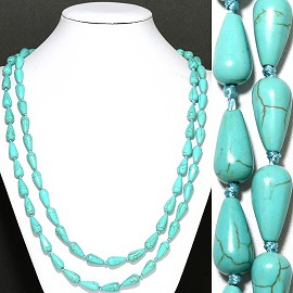 "1pc 44"" Earth Stone Necklace Tear Drop Tuquoise ZN000"