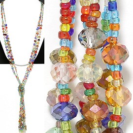 Necklace Lariat Crystal Bead Multi Color ZN001