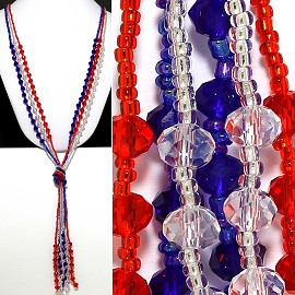 Necklace Lariat Crystal Bead White Blue Blue ZN004