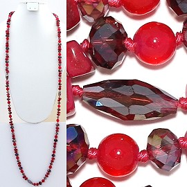 "Necklace Lariat 46"" Crystal Oval Round Stone Bead Red ZN008"