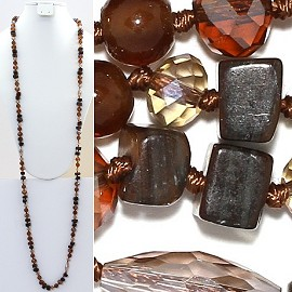 "Necklace Lariat 46"" Crystal Oval Round Stone Bead Brown ZN010"