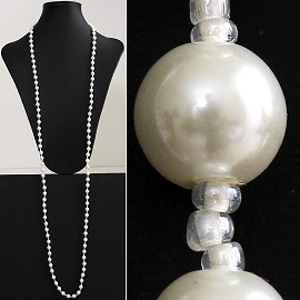 "52"" 8mm Lariat Necklace Smooth Beads White, 2mm Clear ZN011"