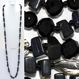 "Necklace Lariat 46"" Crystal Oval Round Stone Bead Black ZN013"