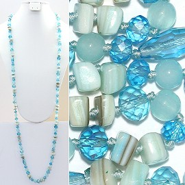 "Necklace Lariat 46"" Crystal Oval Round Stone Turquoise ZN014"