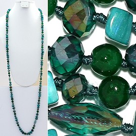 "Necklace Lariat 46"" Crystal Oval Round Stone Bead Green ZN015"