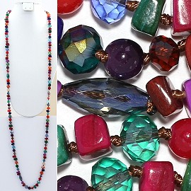 "Necklace Lariat 46"" Crystal Oval Round Stone Multi Color ZN016"