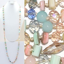 "Necklace Lariat 46"" Crystal Oval Round Stone Bead Peach ZN017"
