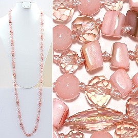 "Necklace Lariat 46"" Crystal Oval Round Stone Bead Pink ZN018"