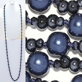 "Necklace Lariat 60"" Crystal Oval Round Beads Blue ZN021"